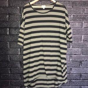 LuLaRoe Olive green and black striped tunic size L